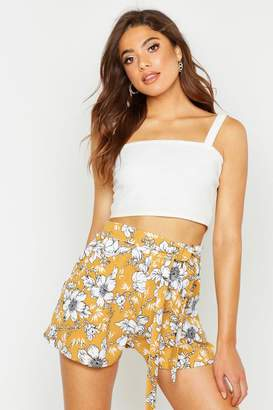 boohoo Large Floral Tie Waist Tailored Shorts