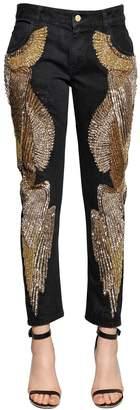 Embellished Cotton Denim Jeans