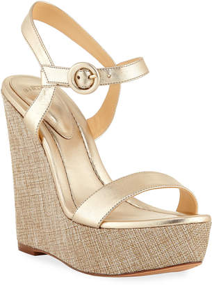 Alexandre Birman Corelle Metallic Leather Wedge Sandals