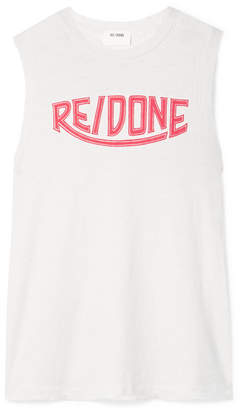 RE/DONE Hanes Printed Cotton-jersey Tank - Off-white