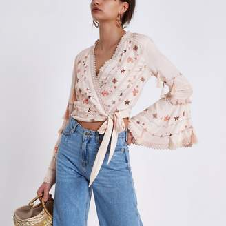 River Island Womens Pink embroidered crop wrap top