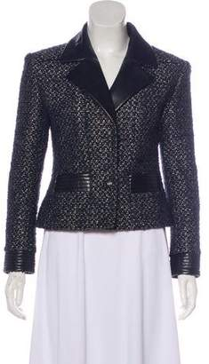 Chanel Leather-Trimmed Wool-Blend Blazer