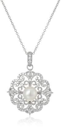 Swarovski Platinum-Plated Sterling Zirconia Freshwater Cultured Pearl Antique Pendant Necklace