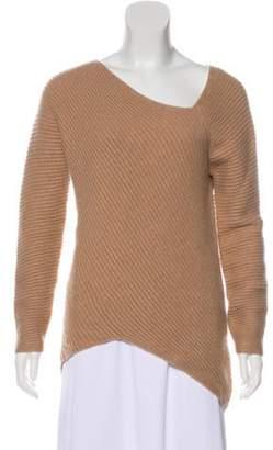 Derek Lam Cashmere Asymmetrical Neckline Sweater Brown Cashmere Asymmetrical Neckline Sweater