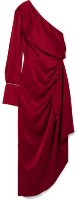 Monse One-shoulder Satin Gown - Crimson