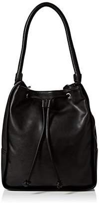 French Connection Womens Stabstitch Belle Drwstrng Hobo Top-Handle Bag Black