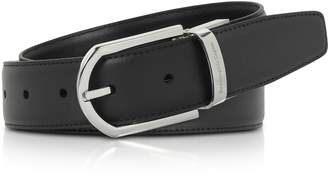 Ermenegildo Zegna Black Smooth Leather Adjustable Belt W/signture Buckle