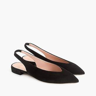 J.Crew Pointed-toe slingback flats in suede
