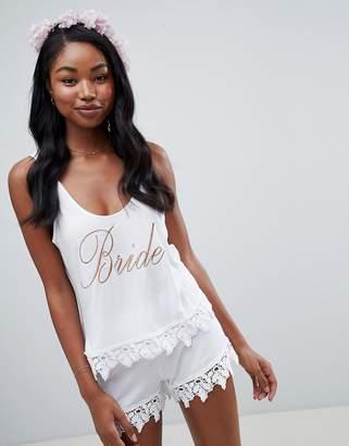 Asos DESIGN bride tank and short pyjama with lace trim