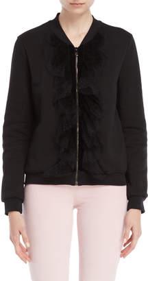 Giamba Black Lace Ruffle Zip Fleece Bomber Jacket