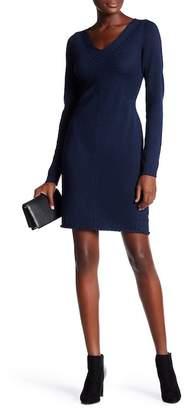 Max Studio V-Neck Stitched Sweater Dress