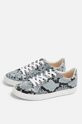 Topshop COLA Blue Snakeskin Lace Up Trainers