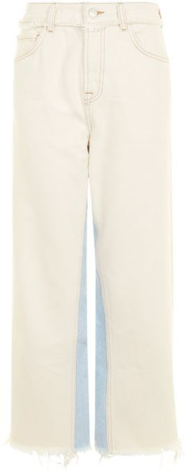Topshop Topshop Moto panel insert cropped wide leg jeans