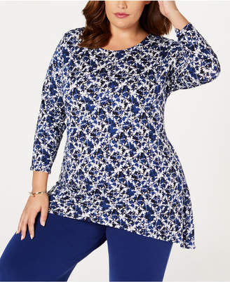 Alfani Plus Size Printed Woven-Back Top