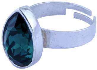 Swarovski Trisha Jewels Rhodium Plated Ring with Swarovski, Godsend, Serene Stone in Green color