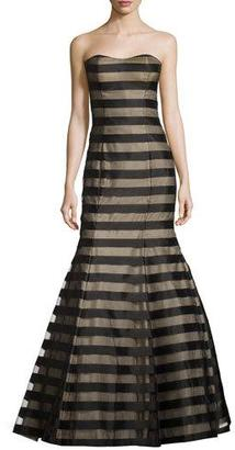 La Femme Strapless Fil Coupe Mermaid Gown, Black/Nude $338 thestylecure.com