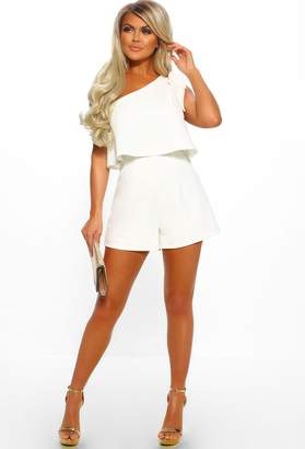 2dc9b10093a5 Pink Boutique Hello Darling White Bow Shoulder Tailored Playsuit