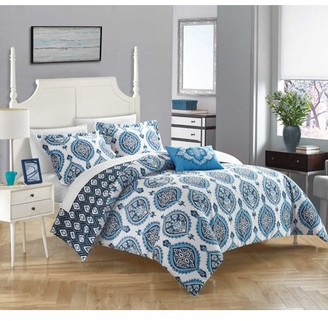 Chic Home 4-Piece Eaton 100% Cotton 200 Thread Count Bohemian Medallion Inspired Printed REVERSIBLE Duvet Cover Set - Blue