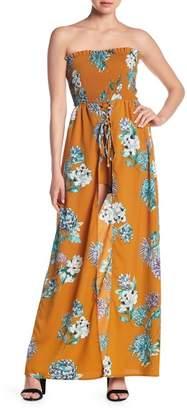 L'Atiste Strapless Lace-Up Walkthrough Maxi Dress
