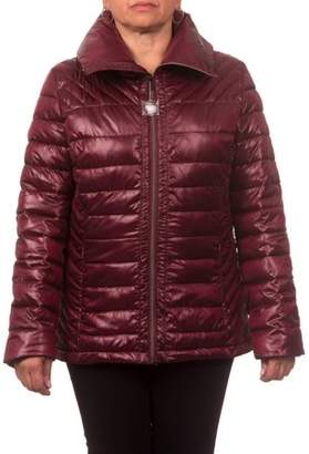Unbranded Women's Down Blend Quilted Jacket with Convertible Collar