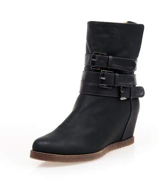 Leroy Alexis Women and Girls' Fashion Warm Inside Wedges Triple Buckles Ankle Winter Boots