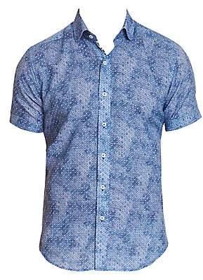 Robert Graham Men's Boyer Textured Geo Print Short-Sleeve Shirt