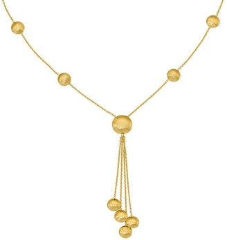 14K Satin Finish Beaded Y Necklace, 6.0g