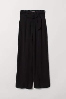 H&M Wide-cut Paper-bag Pants - Black