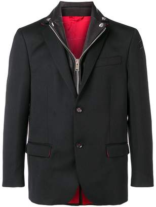 Diesel leather collar hybrid blazer