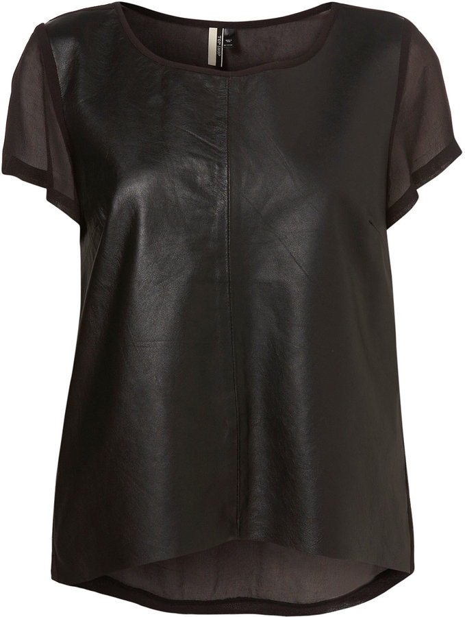 Topshop Black Chiffon Leather Front Tee