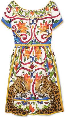 Dolce & Gabbana Maiolica Pleated Printed Cotton-poplin Dress - Yellow