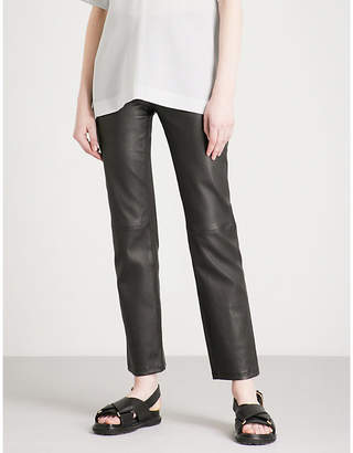 Joseph Den straight stretch-leather trousers