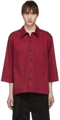 Lemaire Red Military Three-Quarter Sleeve Shirt
