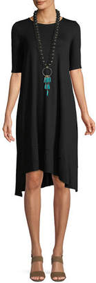 Eileen Fisher Half-Sleeve Lightweight Jersey Asymmetric Dress
