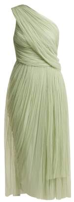 Maria Lucia Hohan Willa One Shoulder Pleated Tulle Dress - Womens - Light Green