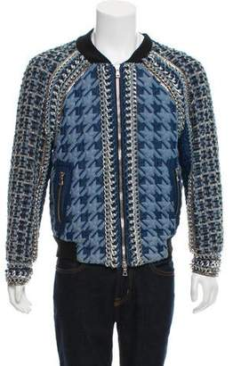 Balmain Embellished Denim Bomber Jacket