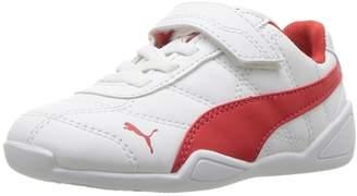 Puma Baby Tune Cat 3 Velcro Kids Sneaker, White-Flame Scarlet