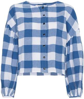 Mara Hoffman Blue gingham Alana blouse