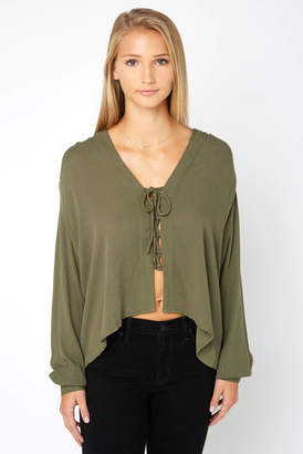 Olivaceous Lace Up Front Blouse
