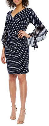 MSK 3/4 Sheer Bell Sleeve Dots Shift Dress