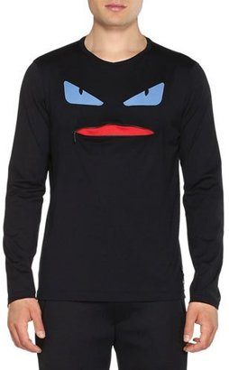 Fendi Monster Long-Sleeve Shirt with Zip-Mouth, Black $400 thestylecure.com