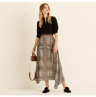 Amanda Wakeley Printed Metallic Lattice Check Midi Skirt