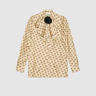 Gucci stamp silk shirt