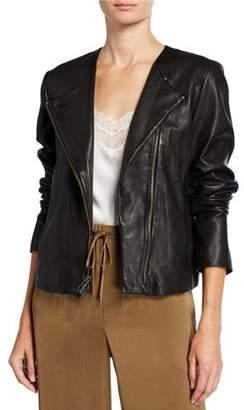Vince Cross-Front Leather Moto Jacket
