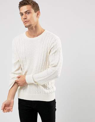 Abercrombie & Fitch Crew Neck Sweater Cable Knit in Oatmeal