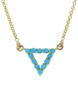 Jennifer Meyer Open Turquoise Triangle Pendant Necklace - Yellow Gold