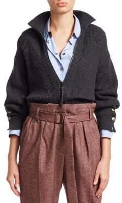 Brunello Cucinelli Rib-Knit Cashmere Cardigan