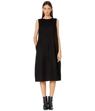 Eileen Fisher Boiled Wool Jersey Round Neck Calf Length Lantern Dress