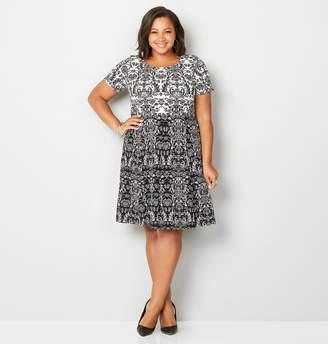 Avenue Textured Paisley Skater Dress