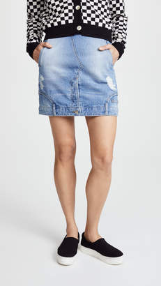Sjyp Reverse Detail Denim Skirt